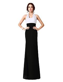 Eng anliegend Halter Boden-Länge Chiffon Formeller Abend Kleid mit Horizontal gerüscht durch Sarahbridal