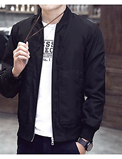 Men's Casual/Daily Simple Spring Jacket,Solid Round Neck Long Sleeve Regular Polyester