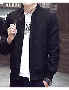 メンズ カジュアル/普段着 春 ジャケット,シンプル ラウンドネック ソリッド レギュラー 長袖