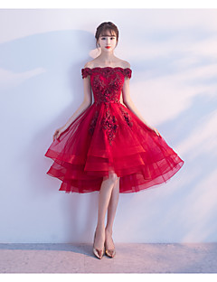 Ball Gown Off-the-shoulder Asymmetrical Tulle Cocktail Party Dress with Appliques