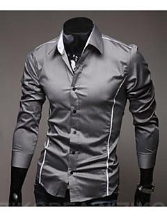 Bomull Langermet,Klassisk krage Skjorte Ensfarget Chinoiserie Fritid/hverdag Herre