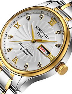 KINGNUOS Masculino Relógio de Moda Relógio de Pulso Único Criativo relógio Relógio Casual Quartzo Calendário Aço Inoxidável BandaLegal