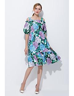 Kadın Dışarı Çıkma Günlük/Sade Sevimli Salaş Elbise Nakışlı Askılı Diz üstü Pamuklu Bahar Yaz Normal Bel Esnemez Orta