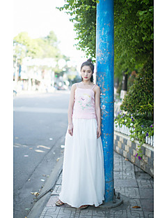 Damer Enkel Kineserier Elastisk Afslappet Løstsiddende Bukser,Lavtaljede Ensfarvet