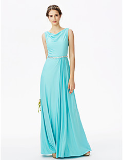 LAN TING BRIDE עד הריצפה ברדס שמלה לשושבינה  - גב פתוח אלגנטי ללא שרוולים ג'רסי