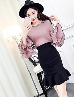 Dames Eenvoudig Zomer T-Shirt Rok Kostuums,Casual/Dagelijks Effen Ronde hals 1/2 Lengte mouw Micro-elastisch