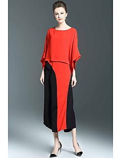 Damen Muster Anspruchsvoll Lässig/Alltäglich Bluse Hose Anzüge,Rundhalsausschnitt Frühling Sommer