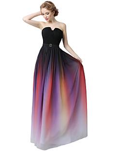シース/コラムノッチ付きフロアレングスシフォンドレープサッシ/リボン入りフォーマルイブニングドレス