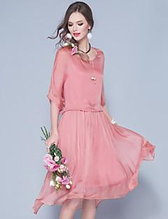 女性 セクシー アジアン・エスニック パーティー スウィング ドレス,ソリッド ラウンドネック ミディ ハーフスリーブ シルク 夏 ミッドライズ 伸縮性あり 超薄型