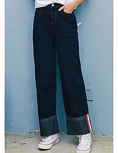 Dam Enkel Mikroelastisk Brett skaft Jeans Byxor,Mellanhög midja Brett skaft Enfärgat