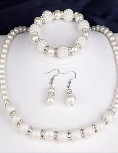 Жен. Свадебные комплекты ювелирных изделий Искусственный жемчуг Мода бижутерия Жемчуг Круглой формы 1 ожерелье 1 пара сережек 1 браслет
