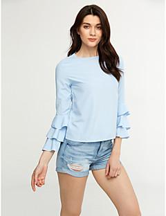 Dames Eenvoudig Overhemd,Casual/Dagelijks Effen Ronde hals Lange mouw Polyester