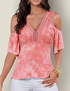Polyester Medium Kortermet,V-hals T-skjorte Enkel Lapper Vår Sommer Sexy Enkel Gatemote Avslappet Ut på byen Fritid/hverdag Dame