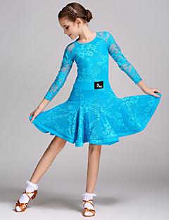 라틴 댄스 드레스 아동용 훈련 레이스 스플리싱 1개 긴 소매 내츄럴 드레스
