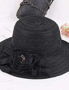 כובע עם שוליים רחבים טלאים ציפוי פלסטי בד קיץ/אביב קיץ כובע פרח נשים צבע מעורב
