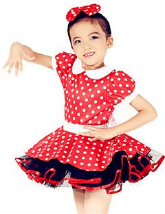 Детская одежда для танцев Платья Детские Выступление Спандекс Полиэстер  Бант(ы) В горошек 2 предмета Короткий рукав Средняя талияПлатье