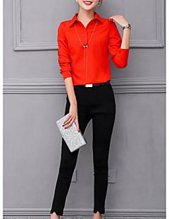 Feminino Camisa Calça Conjuntos Outono Colarinho de Camisa Micro-Elástica