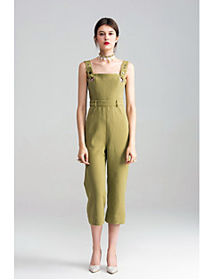 Femme simple Taille haute Micro-élastique Chino Salopette Pantalon,Ample Couleur Pleine