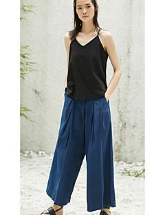 Femme simple Taille Basse non élastique Ample Pantalon,Ample Couleur Pleine