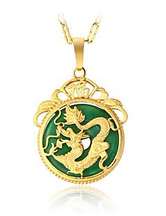 Pánské Dámské Náhrdelníky s přívěšky Nefritově zelená Round Shape Drak Slitina Kruhy Visací Retro luxusní šperky bižuterie Šperky Pro