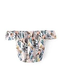 レディース お出かけ カジュアル/普段着 夏 秋 ブラウス,シンプル 活発的 ストラップレス フラワー シルク コットン 半袖 薄手 ミディアム