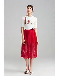 Damen Einfach Niedlich Ausgehen Lässig/Alltäglich Urlaub Midi Röcke Schaukel,Tüll Spitze einfarbig Sommer