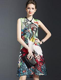 Damer Vintage Kineseri Sofistikerede I-byen-tøj Afslappet/Hverdag A-linje Løstsiddende Chiffon Kjole Trykt mønster Printer,V-halsOver