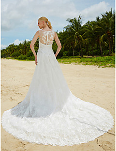 LAN TING BRIDE Trumpet / Mermaid Wedding Dress Two-Piece Sweep / Brush Train Jewel Lace with Beading Lace