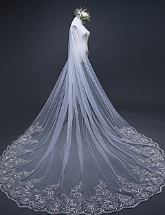 Wedding Veil One-tier Chapel Veils Cathedral Veils Lace Applique Edge Tulle