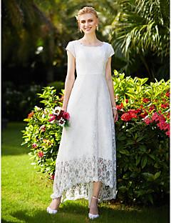 LAN TING BRIDE Linha A Vestido de casamento Simplesmente Sublime Assimétrico Decorado com Bijuteria Renda Tule com Com Pregas Renda