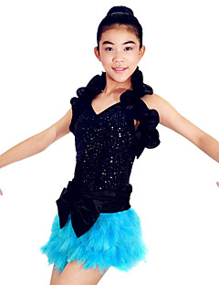 Žene Dječji-Outfits- zaSeksi blagdanski kostimi(Plav Pink,Polyester Elastična tkani satena Šljokičasti Lycra Perje,Luk (s) Perje / Krzno