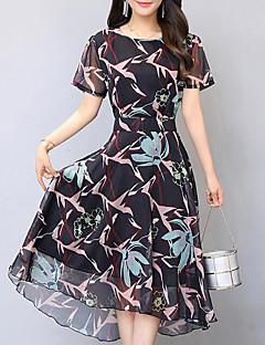 レディース シンプル お出かけ プラスサイズ スウィング ドレス,フラワー ラウンドネック ミディ 半袖 シフォン 夏 ミッドライズ 伸縮性なし ミディアム