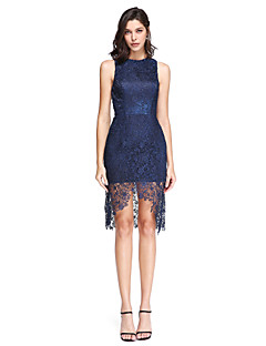 TS Couture Cocktail Party Prom Dress - Sexy Sheath / Column Jewel Asymmetrical Lace with Lace