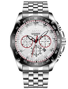 Homens Relógio Elegante Relógio de Moda Quartzo Aço Inoxidável Banda Casual Prata