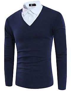 Normal Pullover Avslappet Enkel Herre,Ensfarget Skjortekrage Langermet Polyester Høst Medium Mikroelastisk