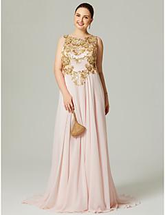 Linha A Decorado com Bijuteria Cauda Escova Chiffon Evento Formal Vestido com Apliques Lantejoulas Pregas de TS Couture®