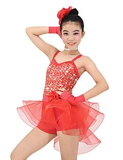 Детская одежда для танцев Инвентарь Детские Выступление Органза Лайкра Без рукавов Средняя талия