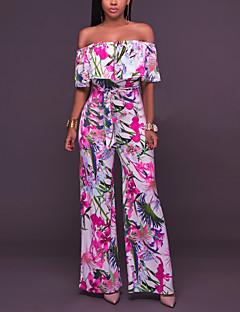 Feminino Simples Sensual Cintura Alta Trabalho Informal Casual Macacão,Perna larga Flor Estampado Floral Babados Verão Outono