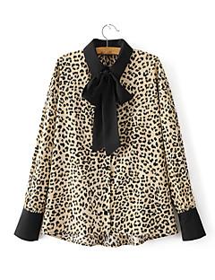 Feminino Camisa Social Para Noite Casual Sensual Simples Moda de Rua Verão,Leopardo Algodão Colarinho de Camisa Manga Longa Fina Média