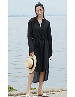 Kadın Günlük/Sade Çan Elbise Solid,Uzun Kollu V Yaka Asimetrik Polyester Yaz Yüksek Bel Esnemez İnce