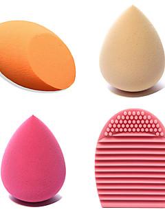 4pcs Beauty MakeupFoundation Smooth Sponge Brush Cleaning Tool