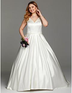 LAN TING BRIDE Plesové šaty Svatební šaty - Elegantní & luxusní Sade ve Hoş Extra dlouhá vlečka Do V Satén s Šerpy / Stuhy Sklady