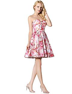 プリンセス恋人ショート/ミニサテンシフォンウエディングドレス