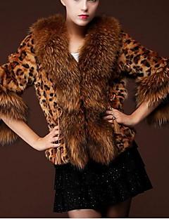 PU Kort Peter Pan-krage Pelskåpe Leopard Vinter Glamour Fritid/hverdag Dame