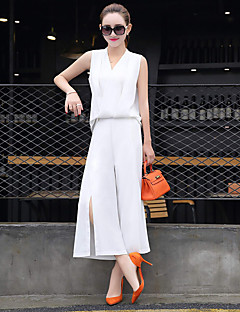 Women's Work Going out Casual/Daily Jumpsuits,Simple Relaxed Fashion Solid Color Summer