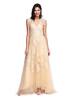 TS Couture Matura Formalna večer Haljina - Prozirno A-kroj V izrez Jako kratki šlep Čipka Til s Aplikacije