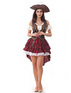 コスプレ衣装 パーティーコスチューム 海賊 イベント/ホリデー ハロウィーンコスチューム パッチワーク ドレス ハット ハロウィーン 女性用