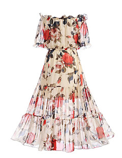 Women's Beach Going out Boho Street chic Swing Dress,Floral Boat Neck Maxi Short Sleeve Polyester Summer Mid Rise Micro-elastic Medium