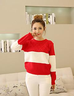 Damen Standard Pullover-Ausgehen Lässig/Alltäglich Niedlich Patchwork Rundhalsausschnitt Langarm Andere Herbst Mittel Mikro-elastisch