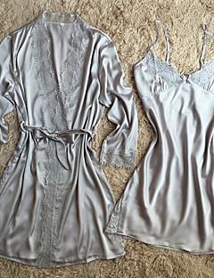 Dame Kjoler Sateng og silke Dress Nattøy,Solid Sexy Retro